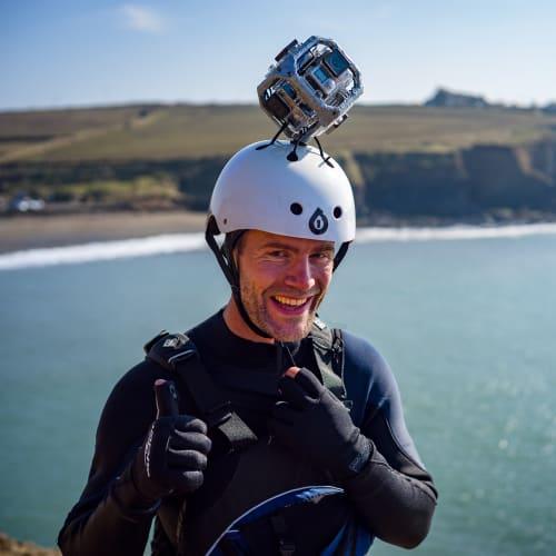 360 waterproof helmet cam rig for 360 degree video capture wales