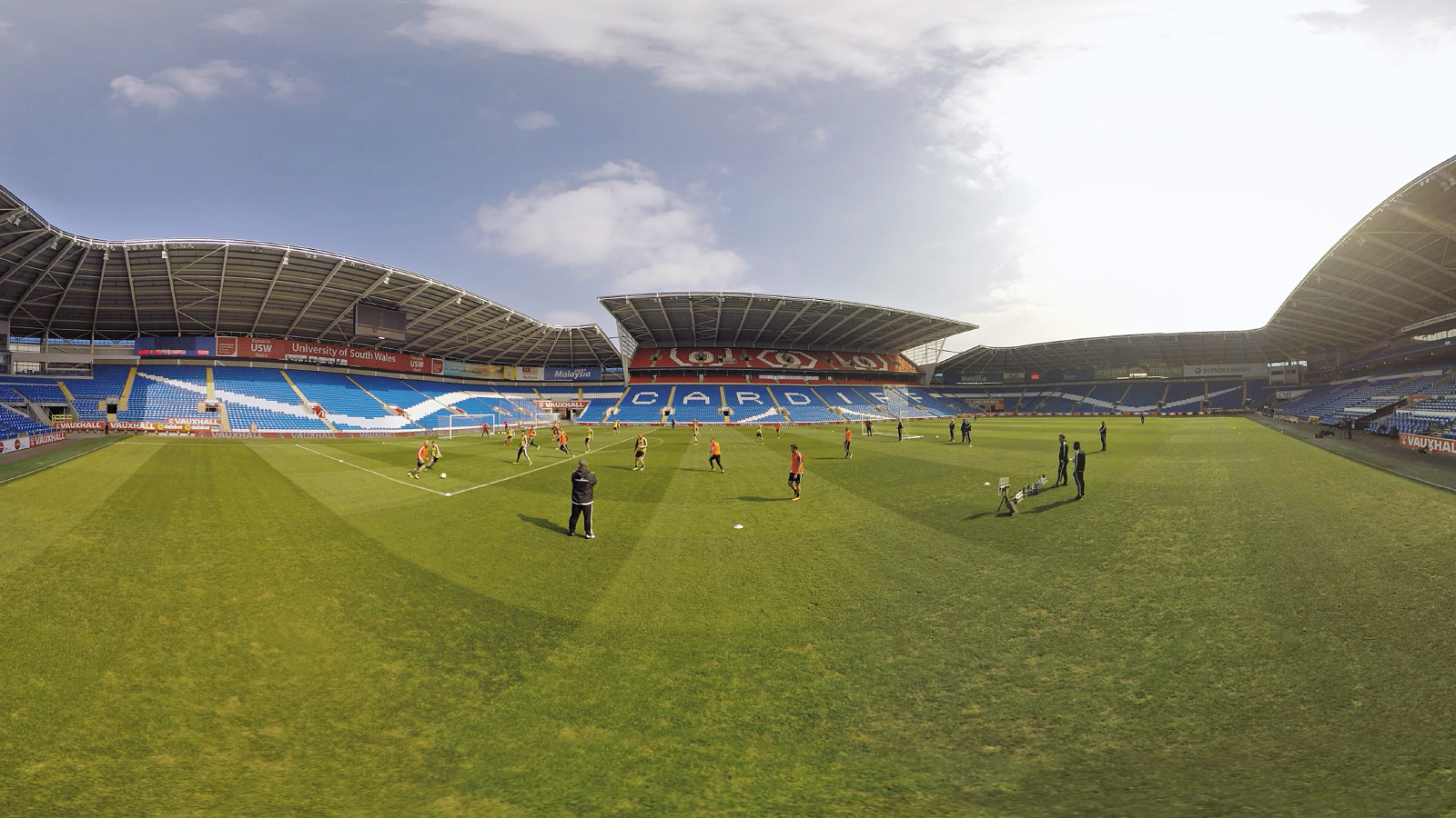 360 Video capture of the Wales team at Cardiff City Stadium