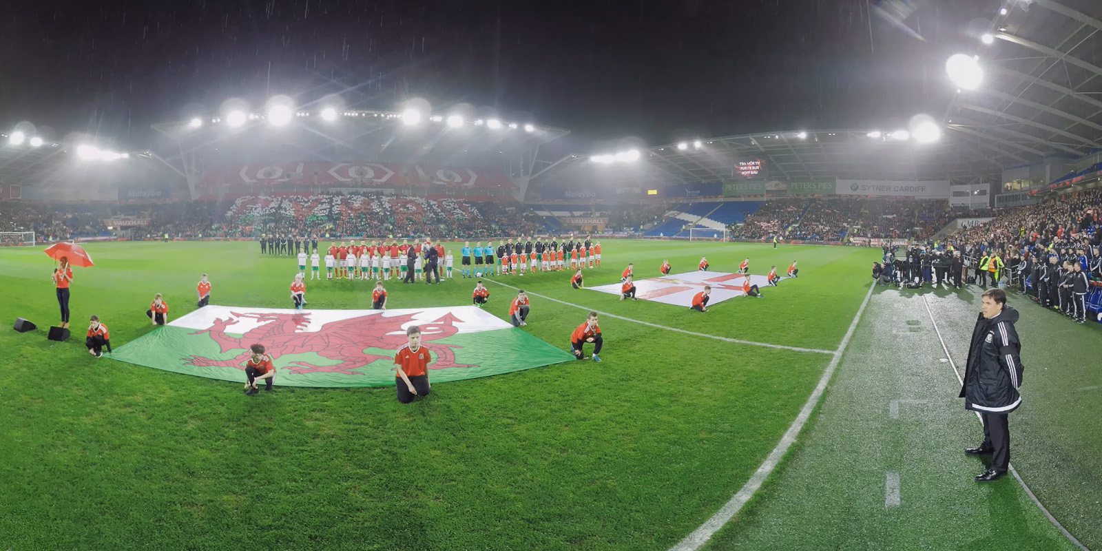 360 video footage of Wales Football Team at Cardiff City Stadium