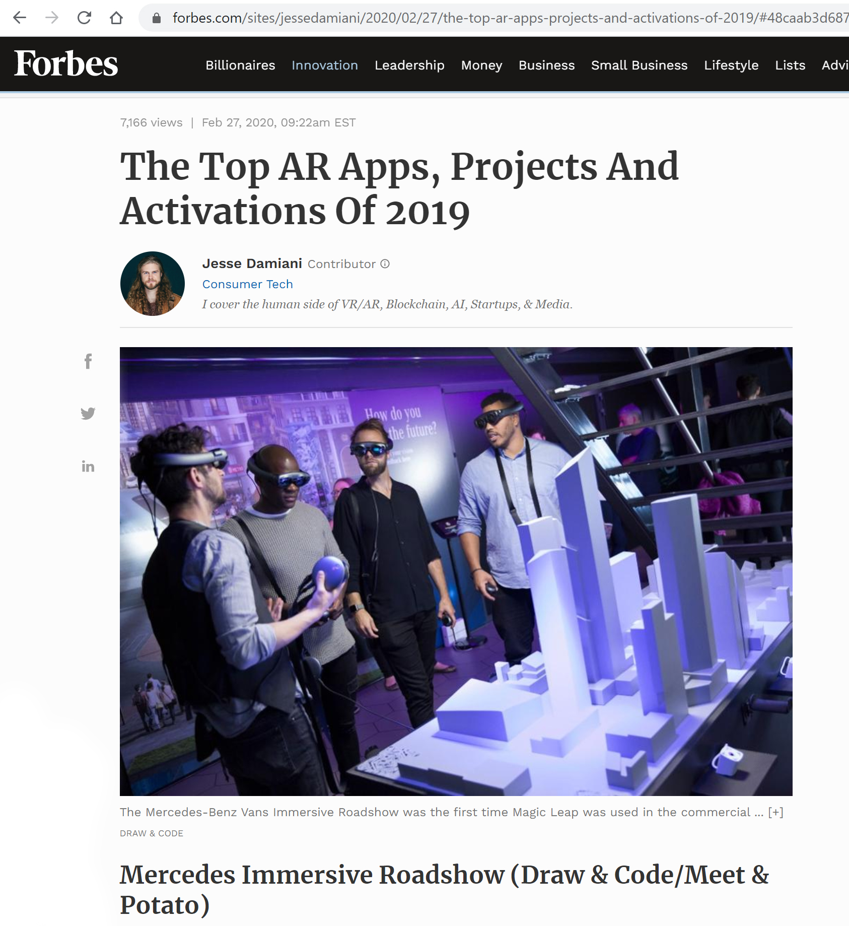 Feature in Forbes magazine